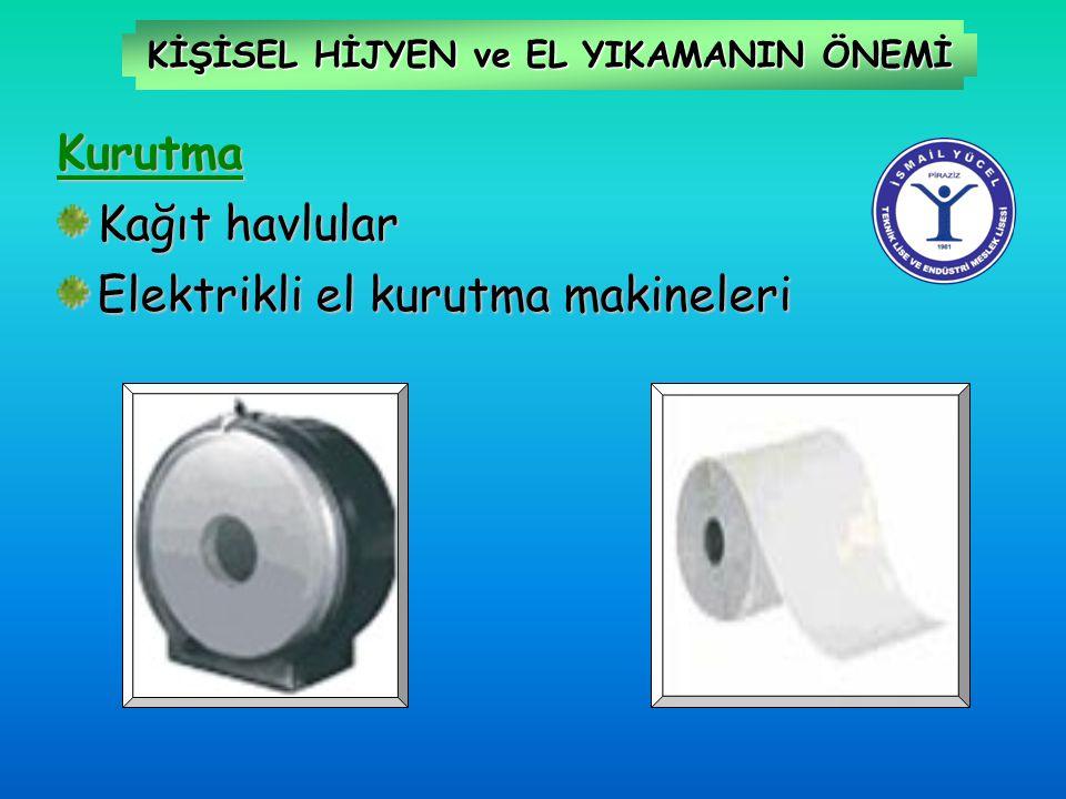 KİŞİSEL HİJYEN ve EL YIKAMANIN ÖNEMİ Kurutma Kağıt havlular Elektrikli el kurutma makineleri