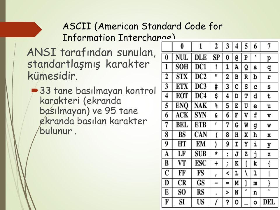 ASCII (American Standard Code for Information Interchange) ANSI tarafından sunulan, standartlaşmış karakter kümesidir.  33 tane basılmayan kontrol ka
