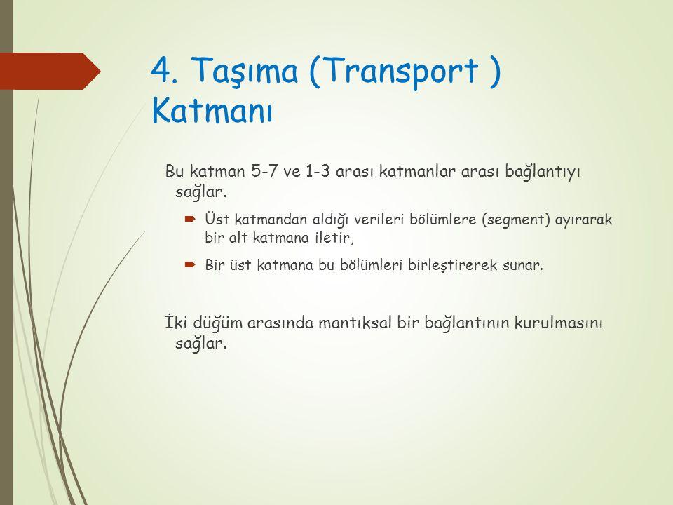 4. Taşıma (Transport ) Katmanı Bu katman 5-7 ve 1-3 arası katmanlar arası bağlantıyı sağlar.  Üst katmandan aldığı verileri bölümlere (segment) ayıra