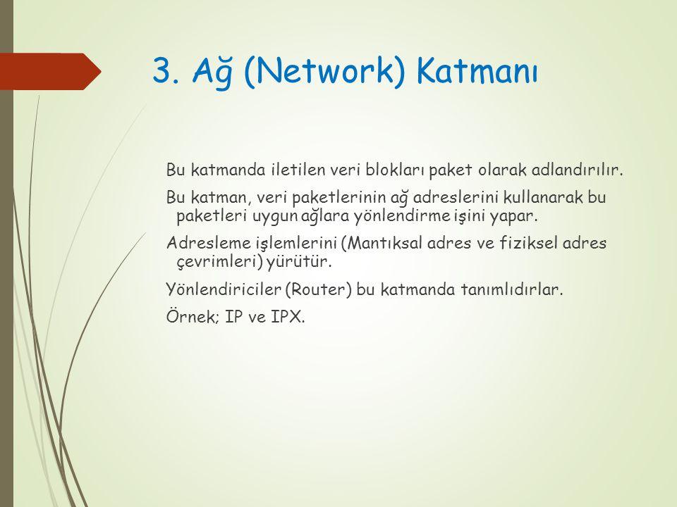 3. Ağ (Network) Katmanı Bu katmanda iletilen veri blokları paket olarak adlandırılır. Bu katman, veri paketlerinin ağ adreslerini kullanarak bu paketl