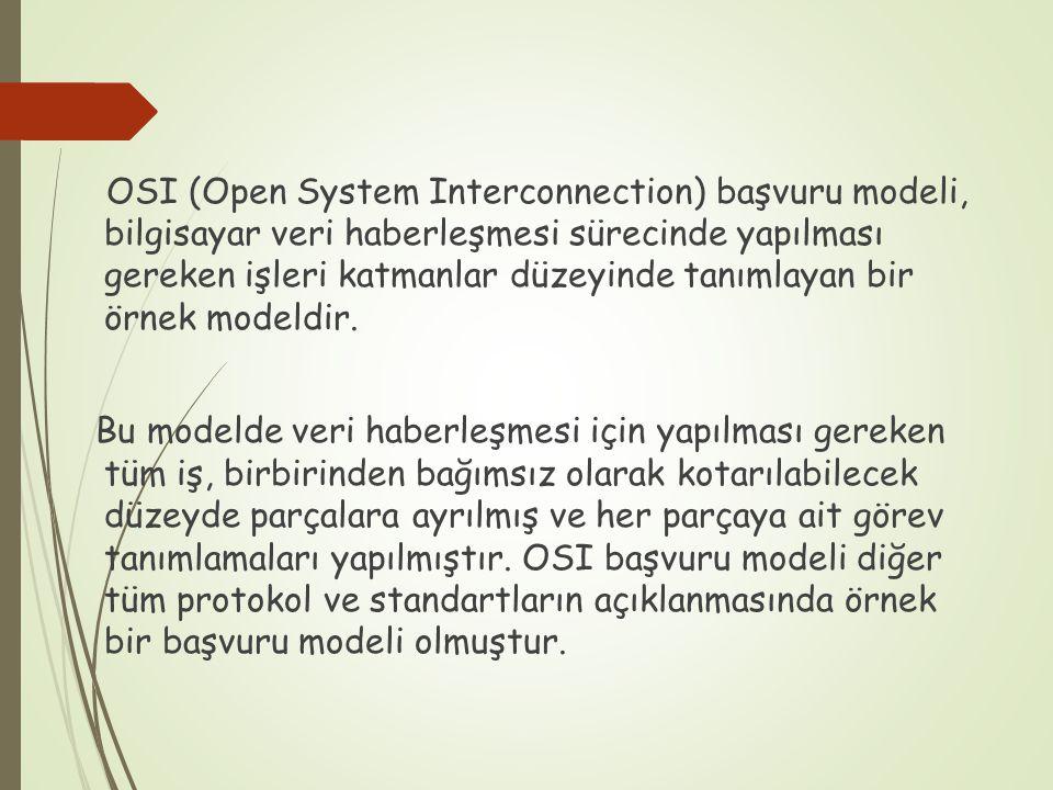 OSI (Open System Interconnection) başvuru modeli, bilgisayar veri haberleşmesi sürecinde yapılması gereken işleri katmanlar düzeyinde tanımlayan bir ö