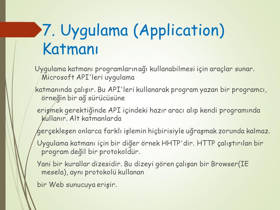 7. Uygulama (Application) Katmanı Uygulama katmanı programların ağı kullanabilmesi için araçlar sunar. Microsoft API'leri uygulama katmanında çalışır.