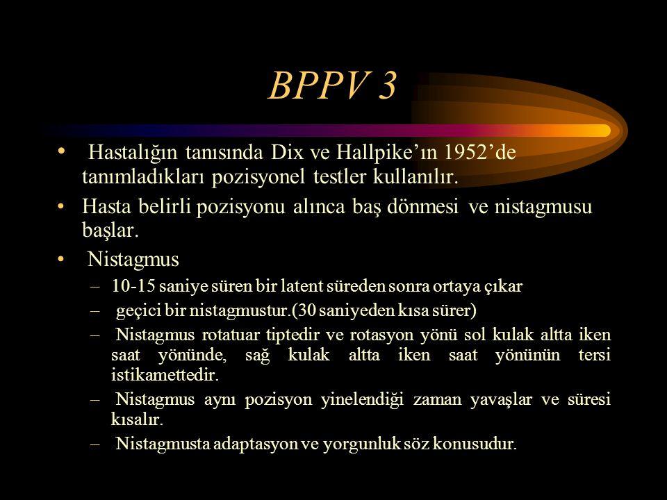 BPPV 3 Hastalığın tanısında Dix ve Hallpike'ın 1952'de tanımladıkları pozisyonel testler kullanılır. Hasta belirli pozisyonu alınca baş dönmesi ve nis