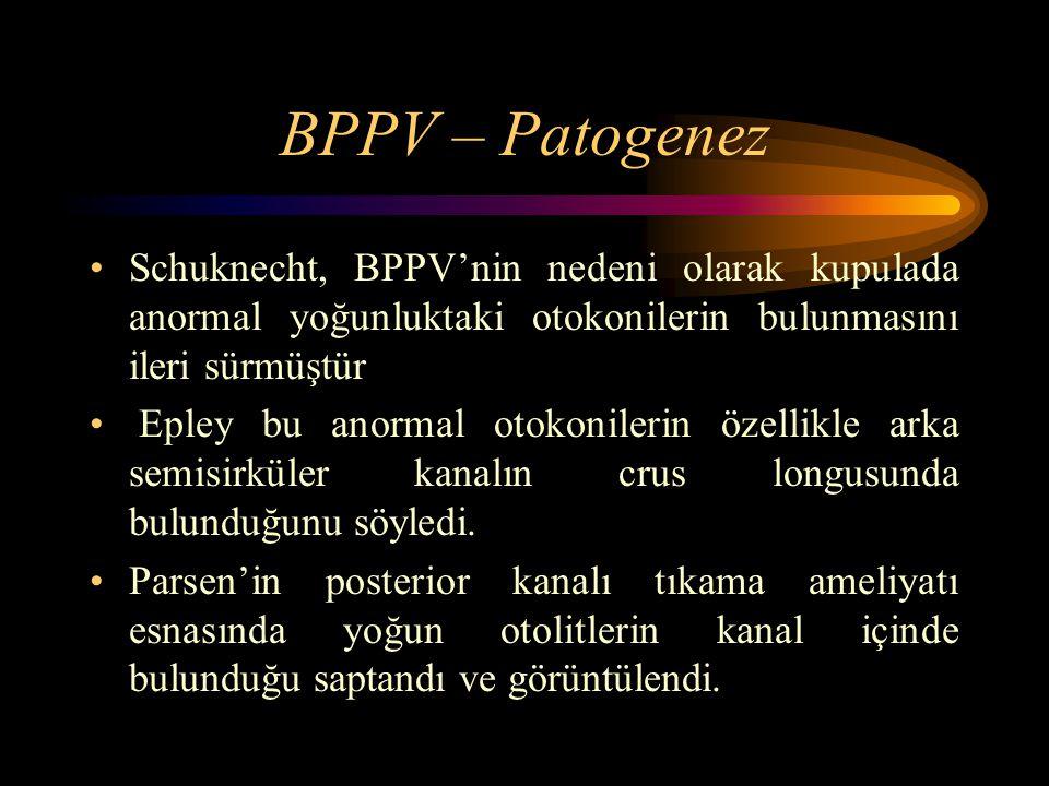BPPV – Patogenez Schuknecht, BPPV'nin nedeni olarak kupulada anormal yoğunluktaki otokonilerin bulunmasını ileri sürmüştür Epley bu anormal otokonilerin özellikle arka semisirküler kanalın crus longusunda bulunduğunu söyledi.