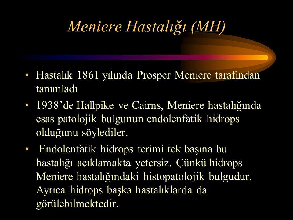 Meniere Hastalığı (MH) Hastalık 1861 yılında Prosper Meniere tarafından tanımladı 1938'de Hallpike ve Cairns, Meniere hastalığında esas patolojik bulg