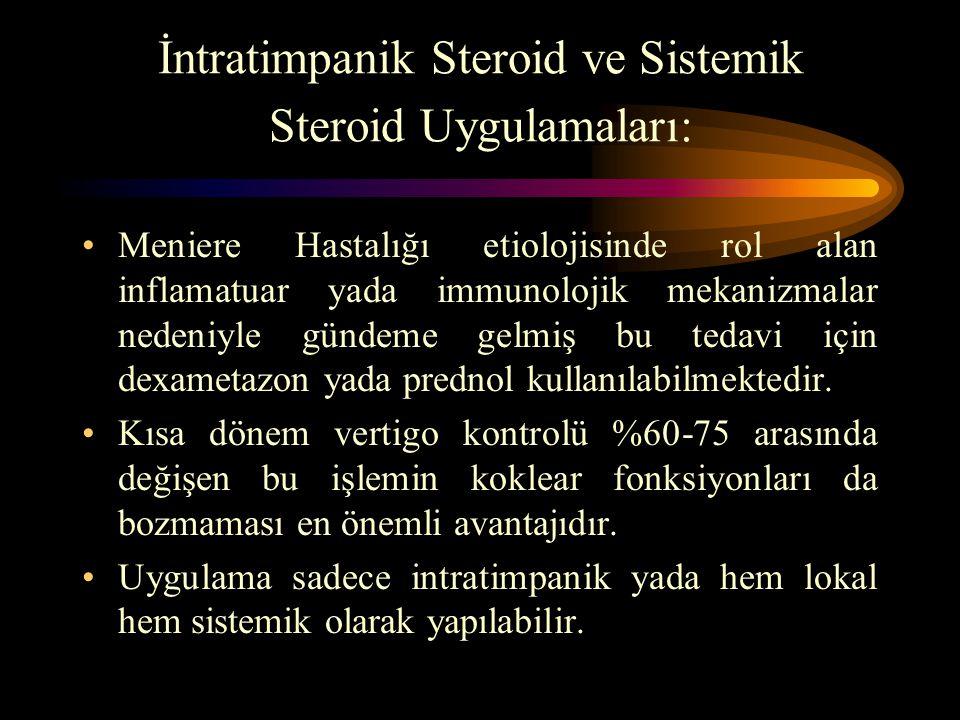 İntratimpanik Steroid ve Sistemik Steroid Uygulamaları: Meniere Hastalığı etiolojisinde rol alan inflamatuar yada immunolojik mekanizmalar nedeniyle g