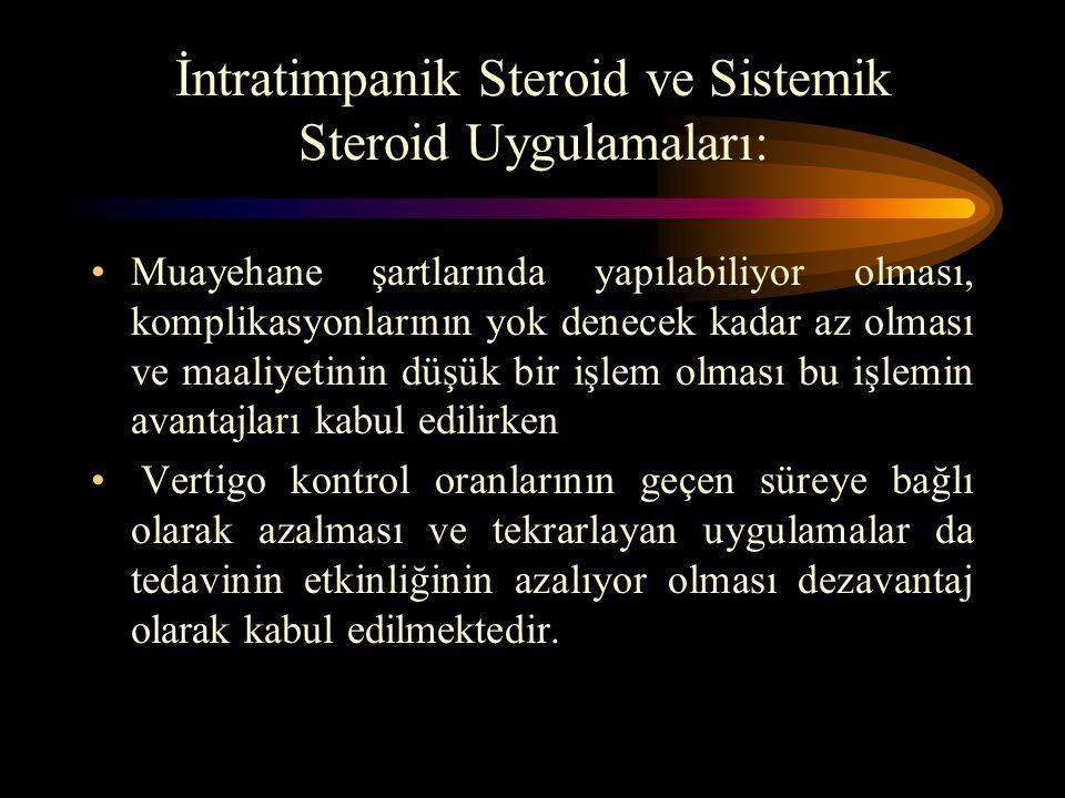 İntratimpanik Steroid ve Sistemik Steroid Uygulamaları: Muayehane şartlarında yapılabiliyor olması, komplikasyonlarının yok denecek kadar az olması ve