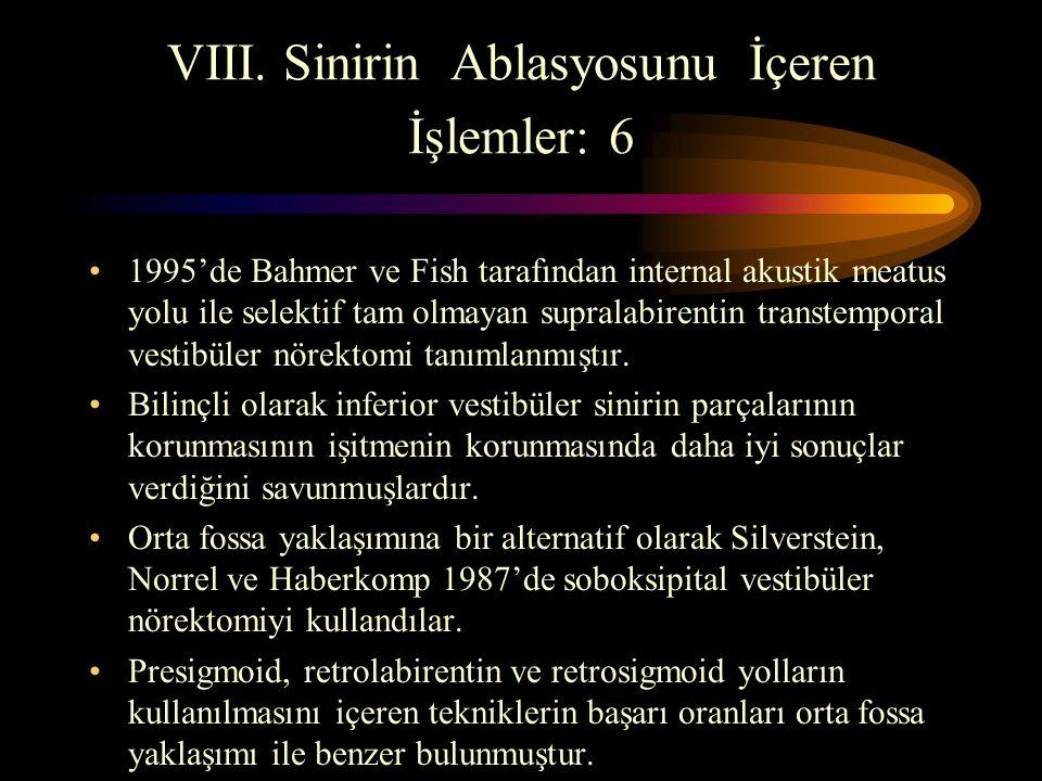 VIII. Sinirin Ablasyosunu İçeren İşlemler: 6 1995'de Bahmer ve Fish tarafından internal akustik meatus yolu ile selektif tam olmayan supralabirentin t