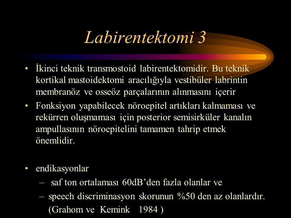 Labirentektomi 3 İkinci teknik transmostoid labirentektomidir. Bu teknik kortikal mastoidektomi aracılığıyla vestibüler labrintin membranöz ve osseöz