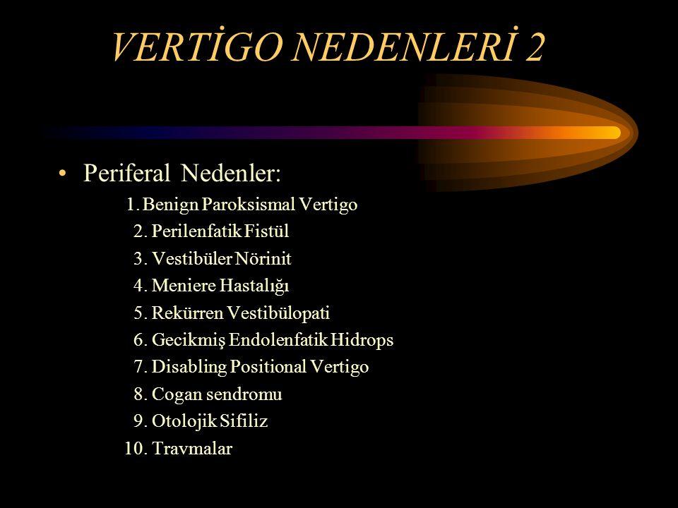 VERTİGO NEDENLERİ 2 Periferal Nedenler: 1.Benign Paroksismal Vertigo 2. Perilenfatik Fistül 3. Vestibüler Nörinit 4. Meniere Hastalığı 5. Rekürren Ves