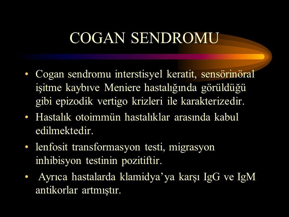 COGAN SENDROMU Cogan sendromu interstisyel keratit, sensörinöral işitme kaybıve Meniere hastalığında görüldüğü gibi epizodik vertigo krizleri ile karakterizedir.