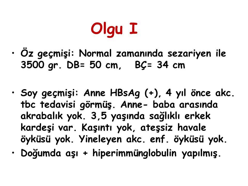 Fizik muayene: 4 320 gr (10-25.per) 57 cm (25-50.per) GD: İyi, ikterik.