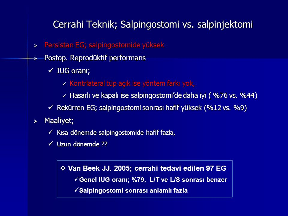 Cerrahi Teknik; Salpingostomi vs.salpinjektomi  Persistan EG; salpingostomide yüksek  Postop.