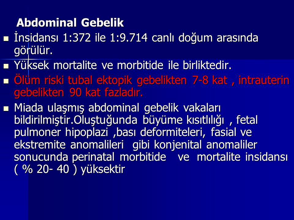 Abdominal Gebelik Abdominal Gebelik İnsidansı 1:372 ile 1:9.714 canlı doğum arasında görülür. İnsidansı 1:372 ile 1:9.714 canlı doğum arasında görülür