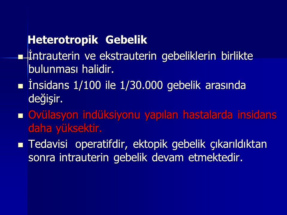 Heterotropik Gebelik Heterotropik Gebelik İntrauterin ve ekstrauterin gebeliklerin birlikte bulunması halidir. İntrauterin ve ekstrauterin gebelikleri