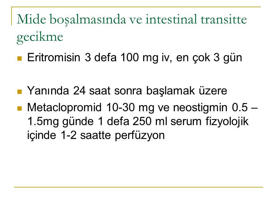 Mide boşalmasında ve intestinal transitte gecikme Eritromisin 3 defa 100 mg iv, en çok 3 gün Yanında 24 saat sonra başlamak üzere Metaclopromid 10-30