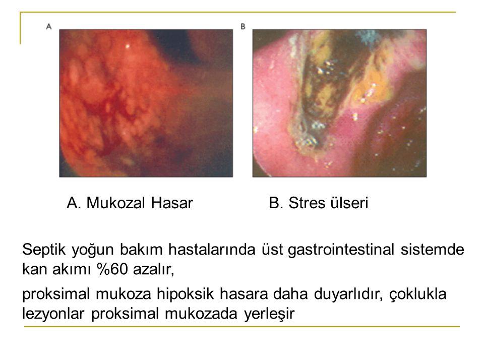 A. Mukozal HasarB. Stres ülseri Septik yoğun bakım hastalarında üst gastrointestinal sistemde kan akımı %60 azalır, proksimal mukoza hipoksik hasara d