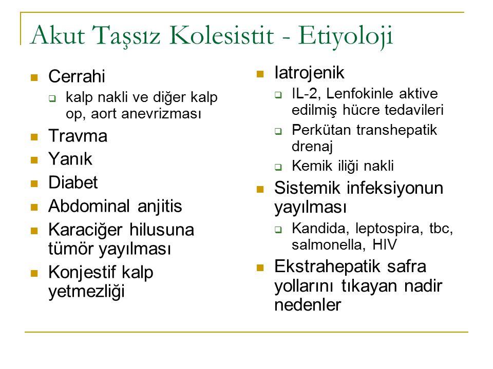 Akut Taşsız Kolesistit - Etiyoloji Cerrahi  kalp nakli ve diğer kalp op, aort anevrizması Travma Yanık Diabet Abdominal anjitis Karaciğer hilusuna tümör yayılması Konjestif kalp yetmezliği Iatrojenik  IL-2, Lenfokinle aktive edilmiş hücre tedavileri  Perkütan transhepatik drenaj  Kemik iliği nakli Sistemik infeksiyonun yayılması  Kandida, leptospira, tbc, salmonella, HIV Ekstrahepatik safra yollarını tıkayan nadir nedenler