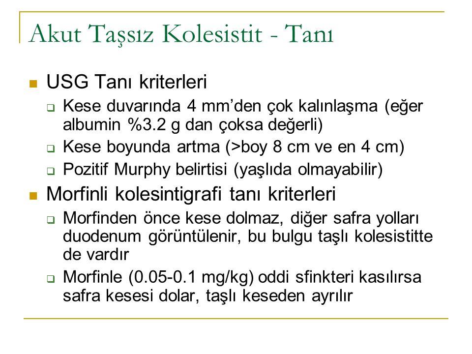 Akut Taşsız Kolesistit - Tanı USG Tanı kriterleri  Kese duvarında 4 mm'den çok kalınlaşma (eğer albumin %3.2 g dan çoksa değerli)  Kese boyunda artma (>boy 8 cm ve en 4 cm)  Pozitif Murphy belirtisi (yaşlıda olmayabilir) Morfinli kolesintigrafi tanı kriterleri  Morfinden önce kese dolmaz, diğer safra yolları duodenum görüntülenir, bu bulgu taşlı kolesistitte de vardır  Morfinle (0.05-0.1 mg/kg) oddi sfinkteri kasılırsa safra kesesi dolar, taşlı keseden ayrılır