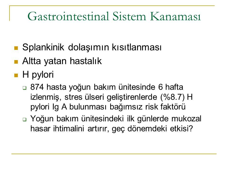 Gastrointestinal Sistem Kanaması - Sıklık >16 yaşında, dahili ve cerrahi YBÜ ne alınan, yatıştan 48 saat önce ve 24 saat sonra kanaması olmayan profilaksi verilmemiş, 2252 kişi prospektif izlenmiş Aşikar kanama; hematemez, kanlı/kahve telvesi gibi nazogastrik aspirat, hematokezya, melena Ağır kanama; SKB da 20 mm Hg düşme, kalp atımında dakikada 20 vuru artma, ortostatik SKB da 10 mm düşme ya da hemoglobin de 2g/dl düşme SIKLIK AĞIR KANAMA İÇİN %1.5, SIKLIK AĞIR KANAMA İÇİN %1.5, Cook et al.