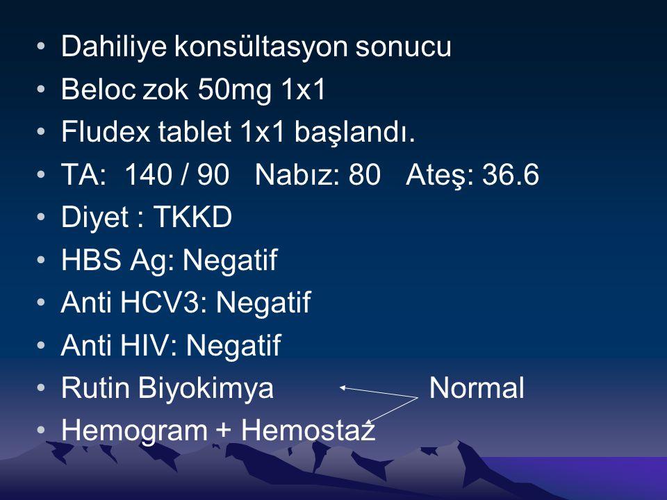 Dahiliye konsültasyon sonucu Beloc zok 50mg 1x1 Fludex tablet 1x1 başlandı.