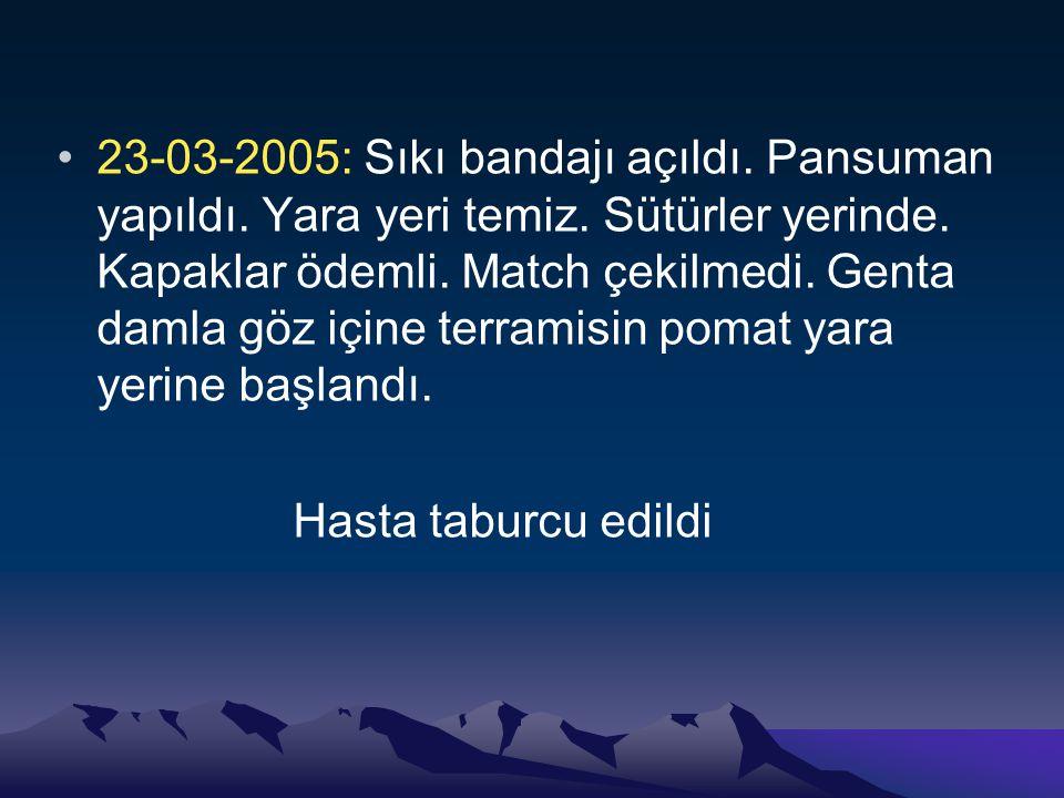 23-03-2005: Sıkı bandajı açıldı.Pansuman yapıldı.