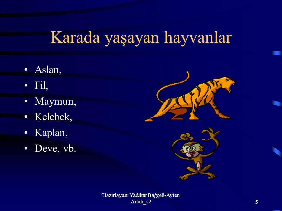 Hazırlayan: Yadikar Bağçeli-Ayten Adalı_s25 Karada yaşayan hayvanlar Aslan, Fil, Maymun, Kelebek, Kaplan, Deve, vb.