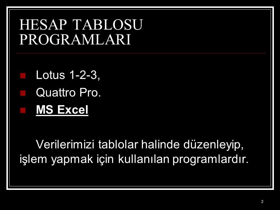 2 HESAP TABLOSU PROGRAMLARI Lotus 1-2-3, Quattro Pro. MS Excel Verilerimizi tablolar halinde düzenleyip, işlem yapmak için kullanılan programlardır.