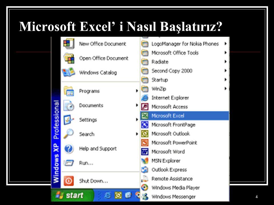 4 Microsoft Excel' i Nasıl Başlatırız?
