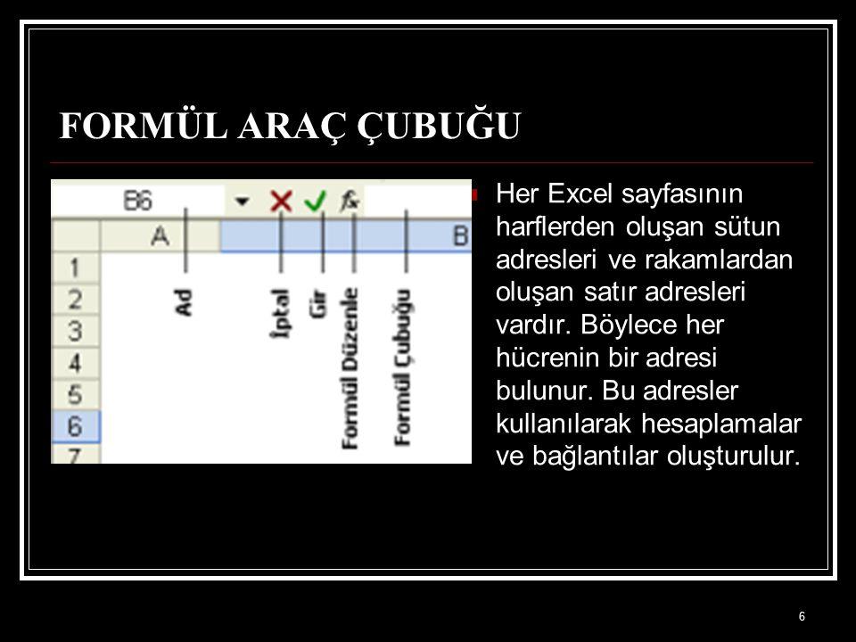 6 FORMÜL ARAÇ ÇUBUĞU Her Excel sayfasının harflerden oluşan sütun adresleri ve rakamlardan oluşan satır adresleri vardır. Böylece her hücrenin bir adr