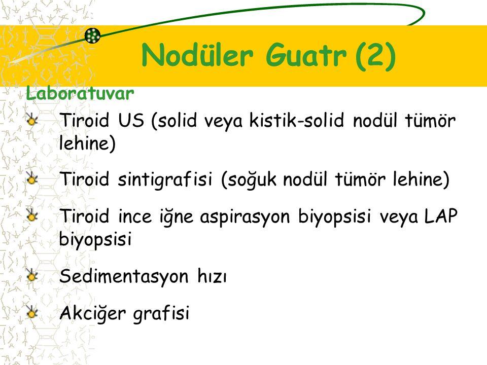 Laboratuvar Tiroid US (solid veya kistik-solid nodül tümör lehine) Tiroid sintigrafisi (soğuk nodül tümör lehine) Tiroid ince iğne aspirasyon biyopsisi veya LAP biyopsisi Sedimentasyon hızı Akciğer grafisi Nodüler Guatr (2)