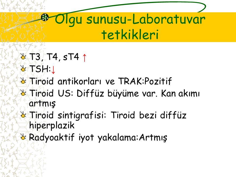 Olgu sunusu-Laboratuvar tetkikleri T3, T4, sT4 ↑ TSH: ↓ Tiroid antikorları ve TRAK:Pozitif Tiroid US: Diffüz büyüme var.