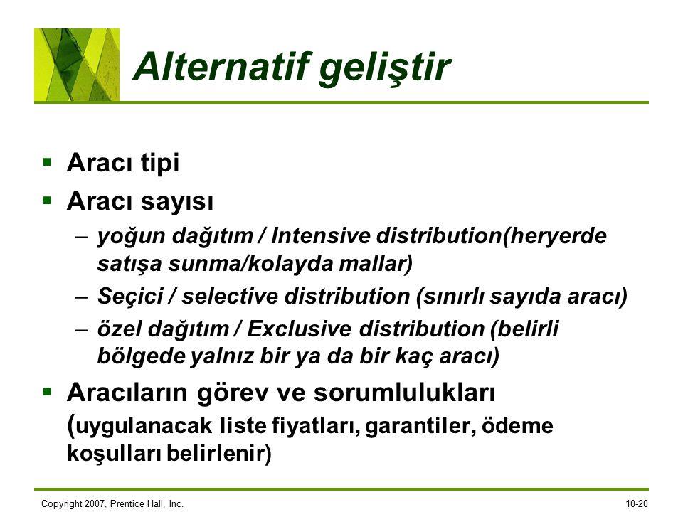 Copyright 2007, Prentice Hall, Inc.10-20 Alternatif geliştir  Aracı tipi  Aracı sayısı –yoğun dağıtım / Intensive distribution(heryerde satışa sunma