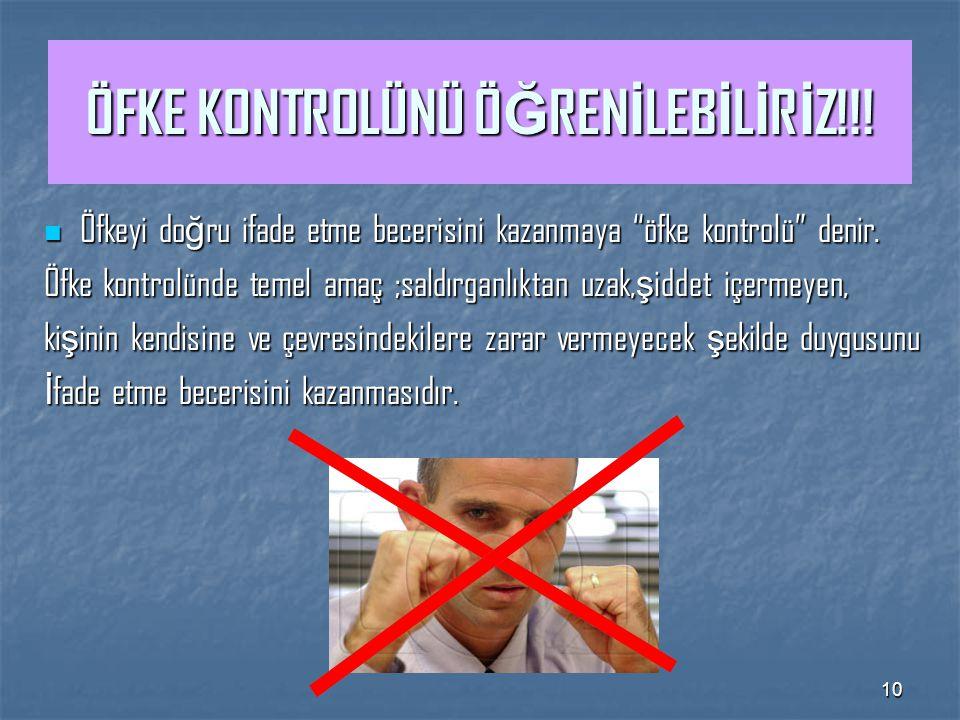 10 ÖFKE KONTROLÜNÜ Ö Ğ REN İ LEB İ L İ R İ Z!!.