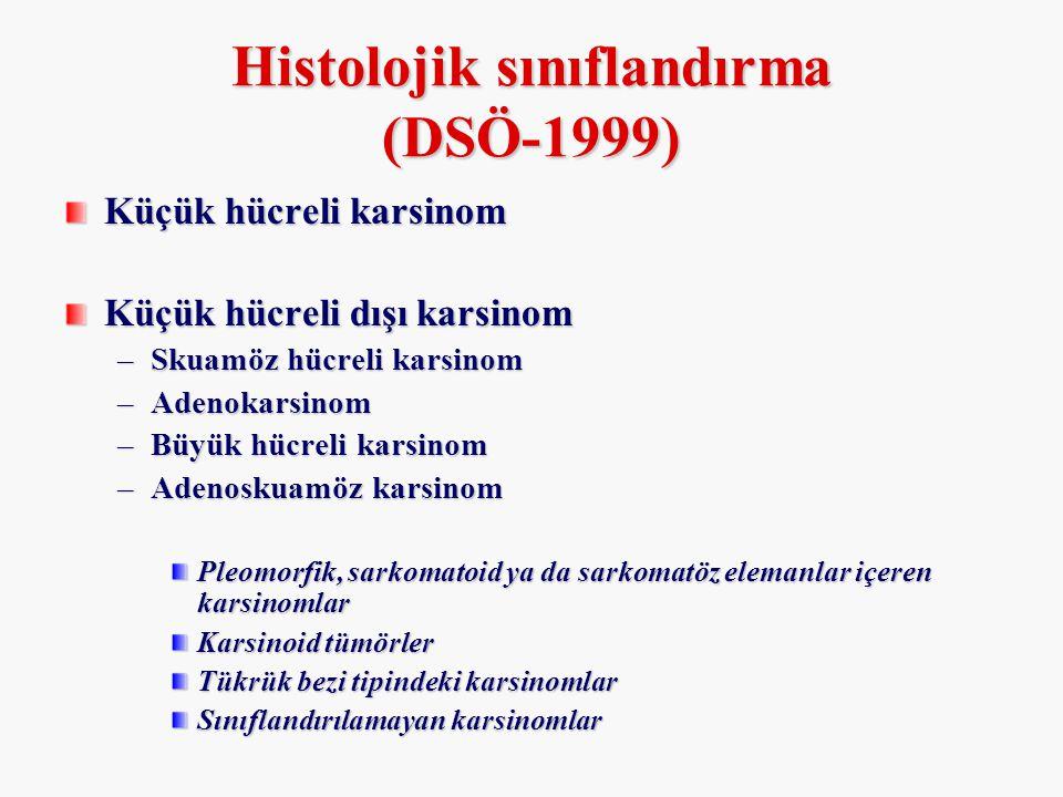 Histolojik sınıflandırma (DSÖ-1999) Küçük hücreli karsinom Küçük hücreli dışı karsinom –Skuamöz hücreli karsinom –Adenokarsinom –Büyük hücreli karsino