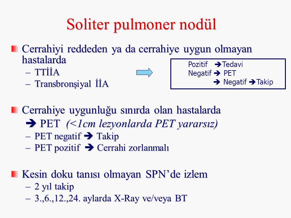 Soliter pulmoner nodül Cerrahiyi reddeden ya da cerrahiye uygun olmayan hastalarda –TTİİA –Transbronşiyal İİA Cerrahiye uygunluğu sınırda olan hastala