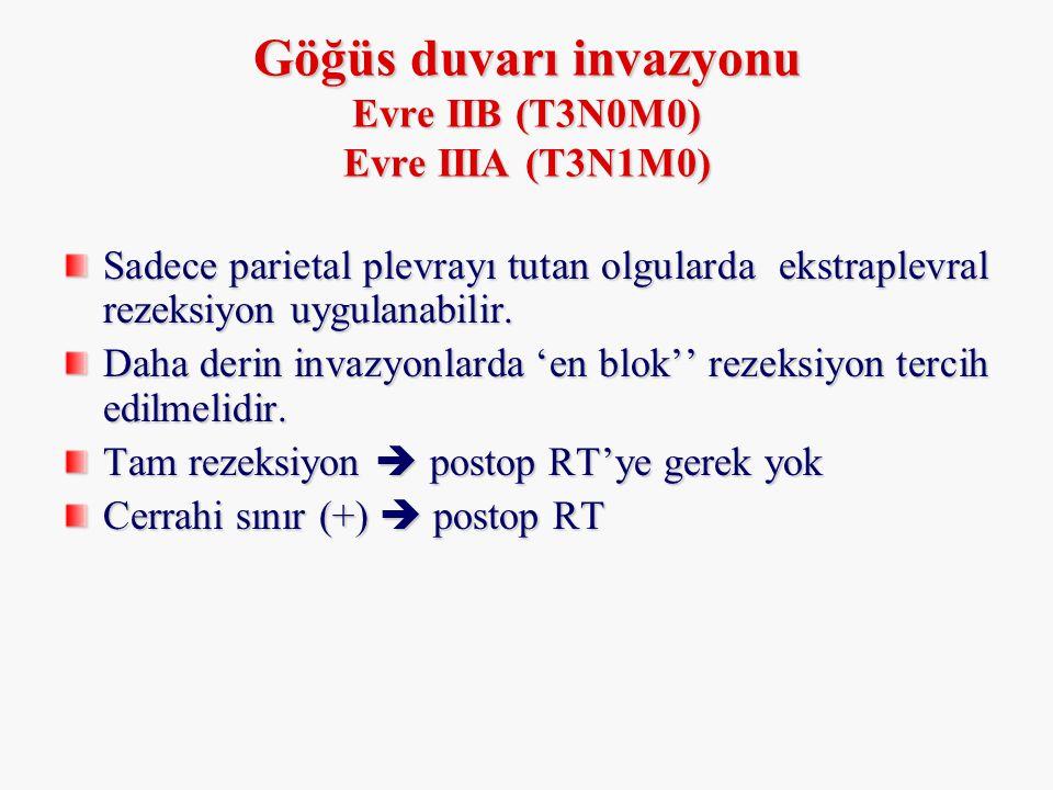 Göğüs duvarı invazyonu Evre IIB (T3N0M0) Evre IIIA (T3N1M0) Sadece parietal plevrayı tutan olgularda ekstraplevral rezeksiyon uygulanabilir. Daha deri