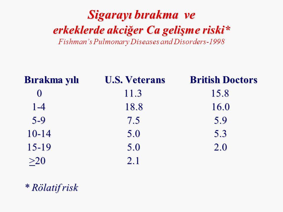 Bırakma yılı U.S. Veterans British Doctors 0 11.3 15.8 0 11.3 15.8 1-4 18.8 16.0 1-4 18.8 16.0 5-9 7.5 5.9 5-9 7.5 5.9 10-14 5.0 5.3 10-14 5.0 5.3 15-