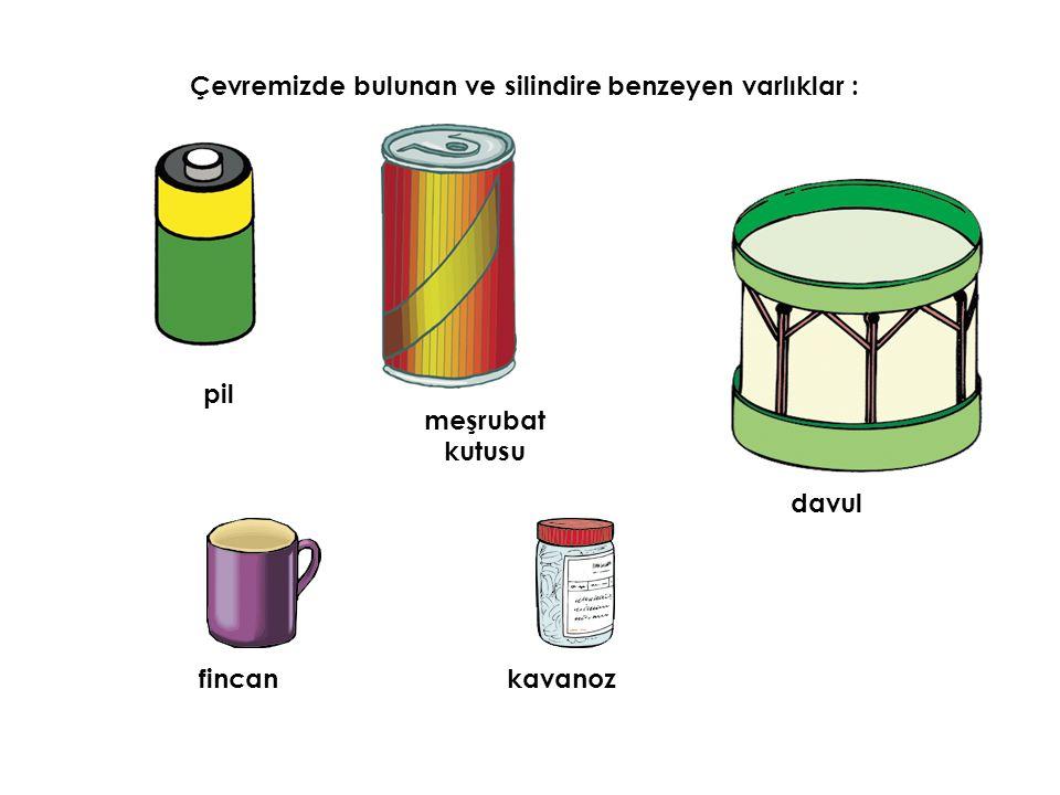 Çevremizde bulunan ve silindire benzeyen varlıklar : meşrubat kutusu davul kavanoz pil fincan
