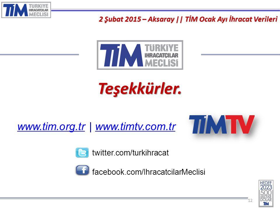 12 2 Şubat 2015 – Aksaray || TİM Ocak Ayı İhracat Verileri Basın Toplantısı Teşekkürler. www.tim.org.trwww.tim.org.tr | www.timtv.com.trwww.timtv.com.