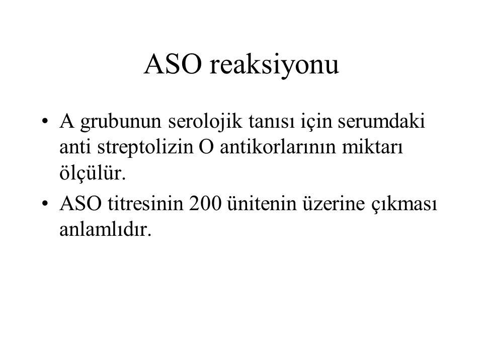 ASO reaksiyonu A grubunun serolojik tanısı için serumdaki anti streptolizin O antikorlarının miktarı ölçülür. ASO titresinin 200 ünitenin üzerine çıkm