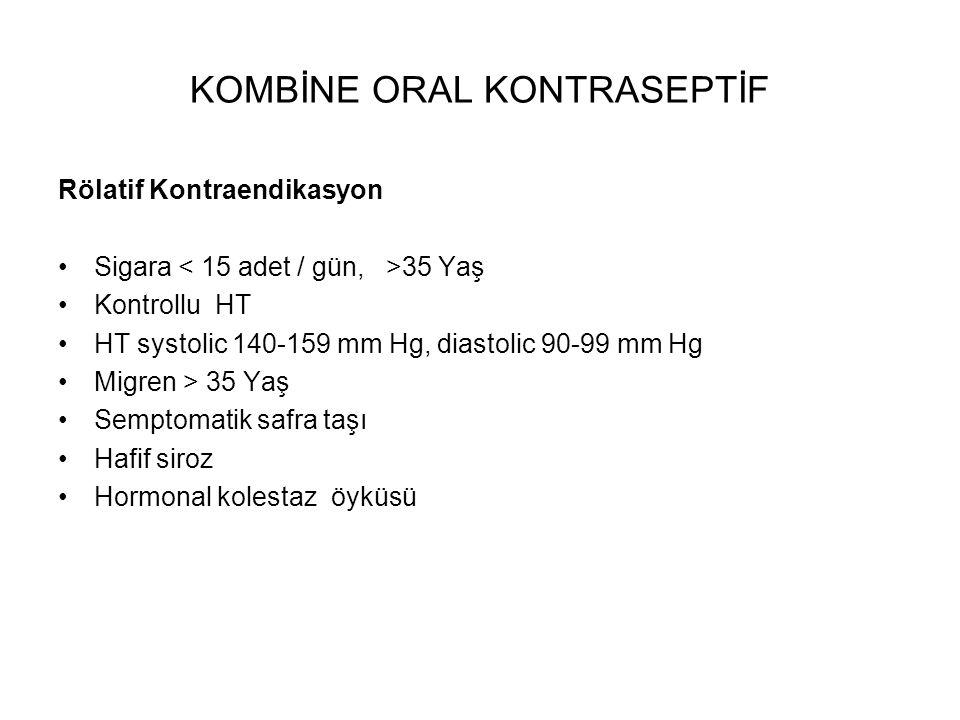 KOMBİNE ORAL KONTRASEPTİVLER Monofazik Düşük Doz Desolett 30, 0,15 desogestrel Myralon 20, 0,15 desogestrel Minulet / Ginera 30, 0,075 gestoden Lo-Ovral / Microgynon 30, 0,15 levonorgestrel Yüksek Doz Ovral 50, 0,25 levonorgestrel Eugynon 50, 0,5 norgestrel Trifazik (proges/ estro düşük ) Trinordiol Triquilar