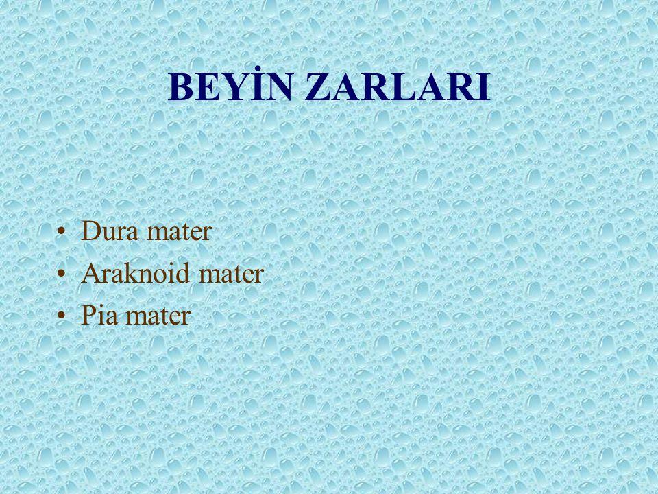 BEYİN ZARLARI Dura mater Araknoid mater Pia mater