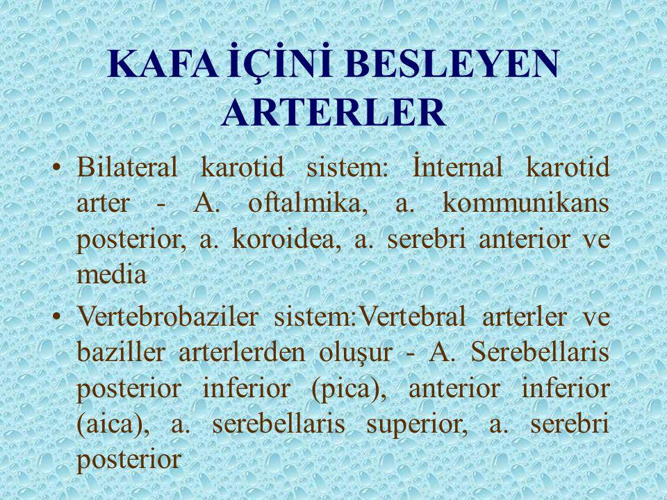 KAFA İÇİNİ BESLEYEN ARTERLER Bilateral karotid sistem: İnternal karotid arter - A. oftalmika, a. kommunikans posterior, a. koroidea, a. serebri anteri