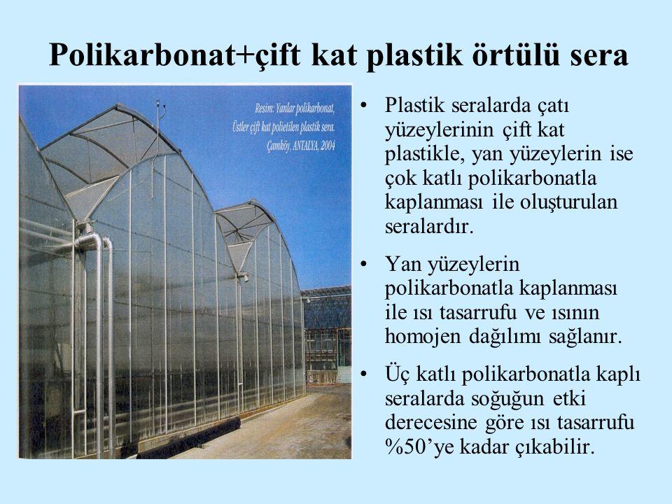 Polikarbonat+çift kat plastik örtülü sera Plastik seralarda çatı yüzeylerinin çift kat plastikle, yan yüzeylerin ise çok katlı polikarbonatla kaplanması ile oluşturulan seralardır.