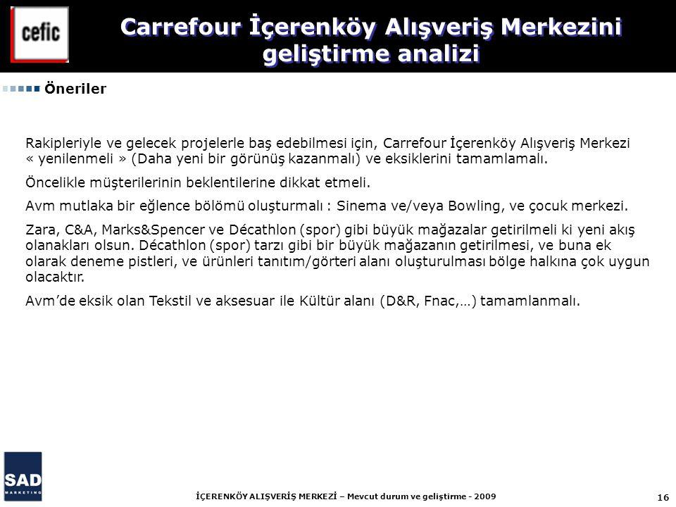 16 İÇERENKÖY ALIŞVERİŞ MERKEZİ – Mevcut durum ve geliştirme - 2009 Öneriler Rakipleriyle ve gelecek projelerle baş edebilmesi için, Carrefour İçerenkö