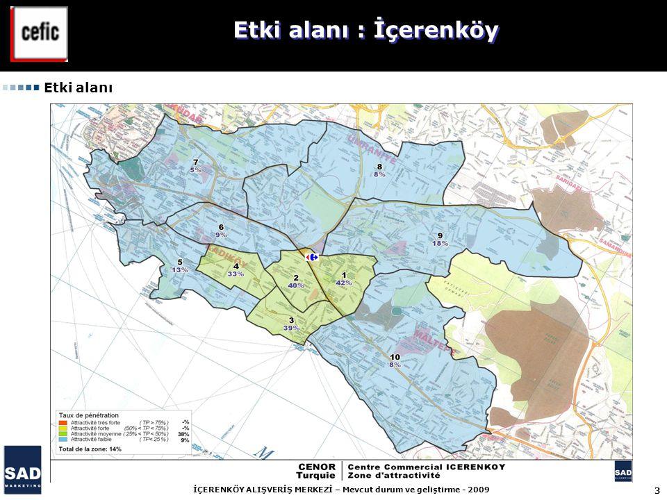 4 İÇERENKÖY ALIŞVERİŞ MERKEZİ – Mevcut durum ve geliştirme - 2009 Carrefour İçerenköy Alışveriş Merkezi geniş bir etki alanına sahip : 1 740 186 nüfus (2005'te : 1 488 368 nüfus).