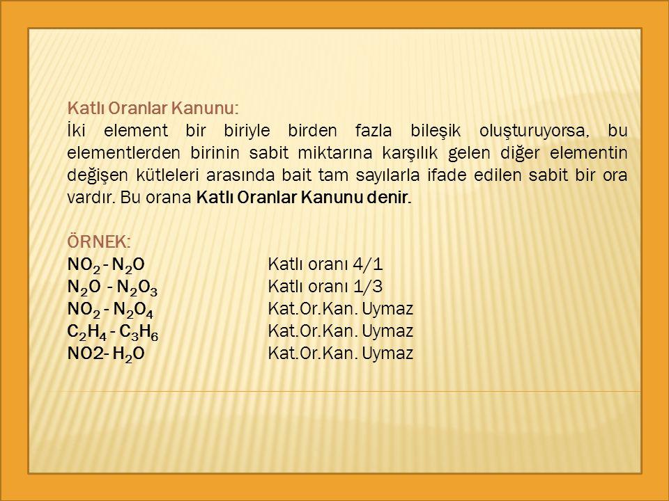 Katlı Oranlar Kanunu: İki element bir biriyle birden fazla bileşik oluşturuyorsa, bu elementlerden birinin sabit miktarına karşılık gelen diğer elemen