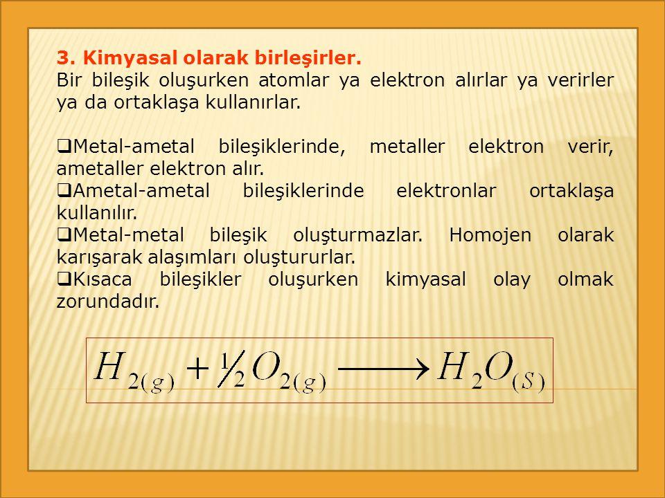 3. Kimyasal olarak birleşirler. Bir bileşik oluşurken atomlar ya elektron alırlar ya verirler ya da ortaklaşa kullanırlar.  Metal-ametal bileşiklerin