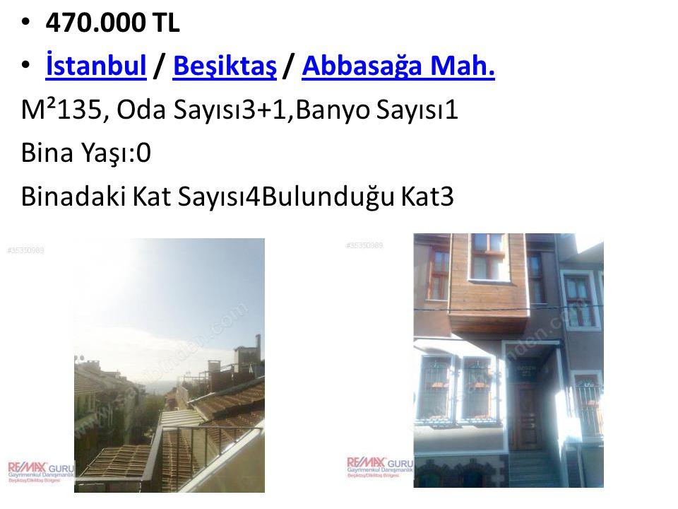 470.000 TL İstanbul / Beşiktaş / Abbasağa Mah. İstanbulBeşiktaşAbbasağa Mah. M²135, Oda Sayısı3+1,Banyo Sayısı1 Bina Yaşı:0 Binadaki Kat Sayısı4Bulund